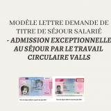 lettre demande de titre dé séjour régularisation par le travail circulaire Valls